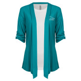 Ladies Teal Drape Front Cardigan-Physical Therapy