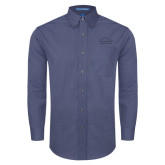 Mens Deep Blue Crosshatch Poplin Long Sleeve Shirt-Physical Therapy