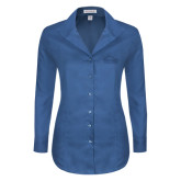 Ladies Red House Deep Blue Herringbone Non Iron Long Sleeve Shirt-Physical Therapy