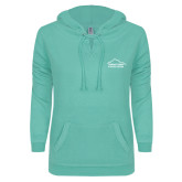 ENZA Ladies Seaglass V Notch Raw Edge Fleece Hoodie-Fitness Center