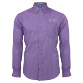 Mens Deep Purple Crosshatch Poplin Long Sleeve Shirt-Physical Therapy