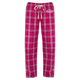 Ladies Dark Fuchsia/White Flannel Pajama Pant-Physical Therapy