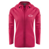 Ladies Tech Fleece Full Zip Hot Pink Hooded Jacket-Physical Therapy
