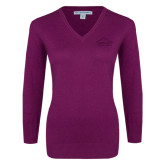 Ladies Deep Berry V Neck Sweater-Physical Therapy