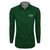 Ladies Dark Green Twill Button Down Long Sleeve-Physical Therapy
