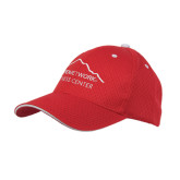 Red Mesh w/White Sandwich Structured Hat-Fitness Center