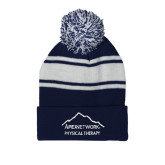 Navy/White Two Tone Knit Pom Beanie w/Cuff-Physical Therapy