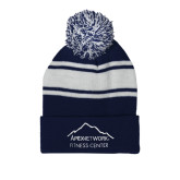 Navy/White Two Tone Knit Pom Beanie with Cuff-Fitness Center