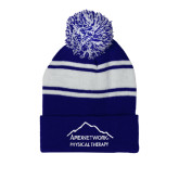 Royal/White Two Tone Knit Pom Beanie with Cuff-Physical Therapy