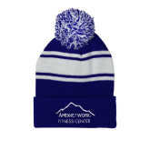 Royal/White Two Tone Knit Pom Beanie with Cuff-Fitness Center