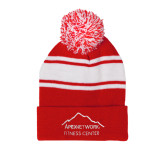 Red/White Two Tone Knit Pom Beanie with Cuff-Fitness Center