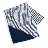 Field & Co Luxurious Navy Chevron Striped Sherpa Blanket-Fitness Center Engraved