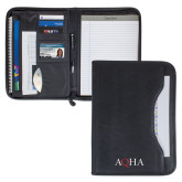 Wall Street Black Zippered Padfolio-AQHA