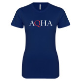 Next Level Ladies SoftStyle Junior Fitted Navy Tee-AQHA