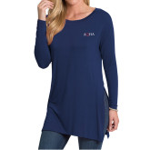 Ladies Navy Side Slit Tunic-AQHA