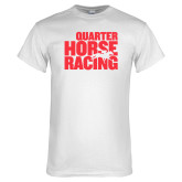 White T Shirt-Quarter Hourse Racing Stacked