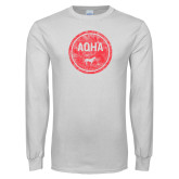 White Long Sleeve T Shirt-AQHA in Circle Distressed