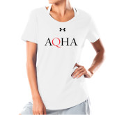 Ladies Under Armour White Charged Cotton Tee-AQHA