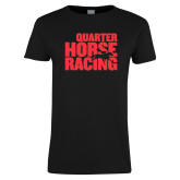 Ladies Black T Shirt-Quarter Hourse Racing Stacked