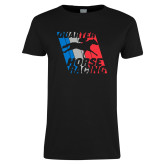 Ladies Black T Shirt-Quarter Horse Racing