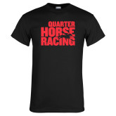Black T Shirt-Quarter Hourse Racing Stacked
