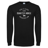 Black Long Sleeve T Shirt-American Quater Horse Distressed