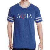 Royal Heather/Grey Tri Blend Varsity Tee-AQHA