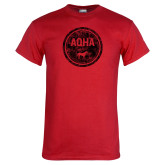 Red T Shirt-AQHA in Circle Distressed