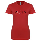 Next Level Ladies SoftStyle Junior Fitted Red Tee-AQHA