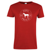 Ladies Red T Shirt-AQHA Pround in Circle
