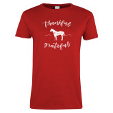 Ladies Red T Shirt-Thankful, Blessed, Grateful