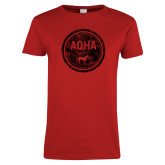 Ladies Red T Shirt-AQHA in Circle Distressed