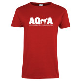 Ladies Red T Shirt-AQHA w Horse