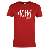 Ladies Red T Shirt-AQHA Fancy Script