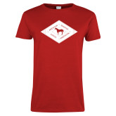 Ladies Red T Shirt-Diamond Graphic