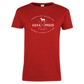 Ladies Red T Shirt-AQHA Proud with Cross