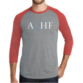 Grey/Red Heather Tri Blend Baseball Raglan-AQHF