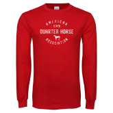 Red Long Sleeve T Shirt-American Quater Horse Distressed