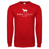 Red Long Sleeve T Shirt-AQHA Proud w Horse