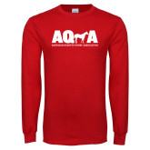 Red Long Sleeve T Shirt-AQHA w Horse