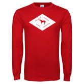 Red Long Sleeve T Shirt-Diamond Graphic