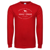 Red Long Sleeve T Shirt-AQHA Proud with Cross