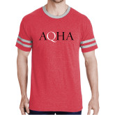 Red Heather/Grey Tri Blend Varsity Tee-AQHA