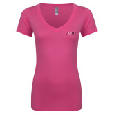 Next Level Ladies Junior Fit Ideal V Pink Tee-AQHF