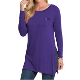 Ladies Purple Side Slit Tunic-AQHA