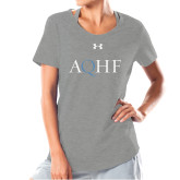 Ladies Under Armour Grey Charged Cotton Tee-AQHF