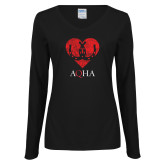 Ladies Black Long Sleeve V Neck Tee-Heart w Horse Shoes Distressed