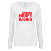 Ladies White Long Sleeve V Neck Tee-Quarter Hourse Racing Stacked