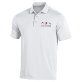 Under Armour White Performance Polo-AQHA Stacked