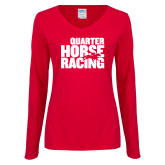 Ladies Red Long Sleeve V Neck Tee-Quarter Hourse Racing Stacked